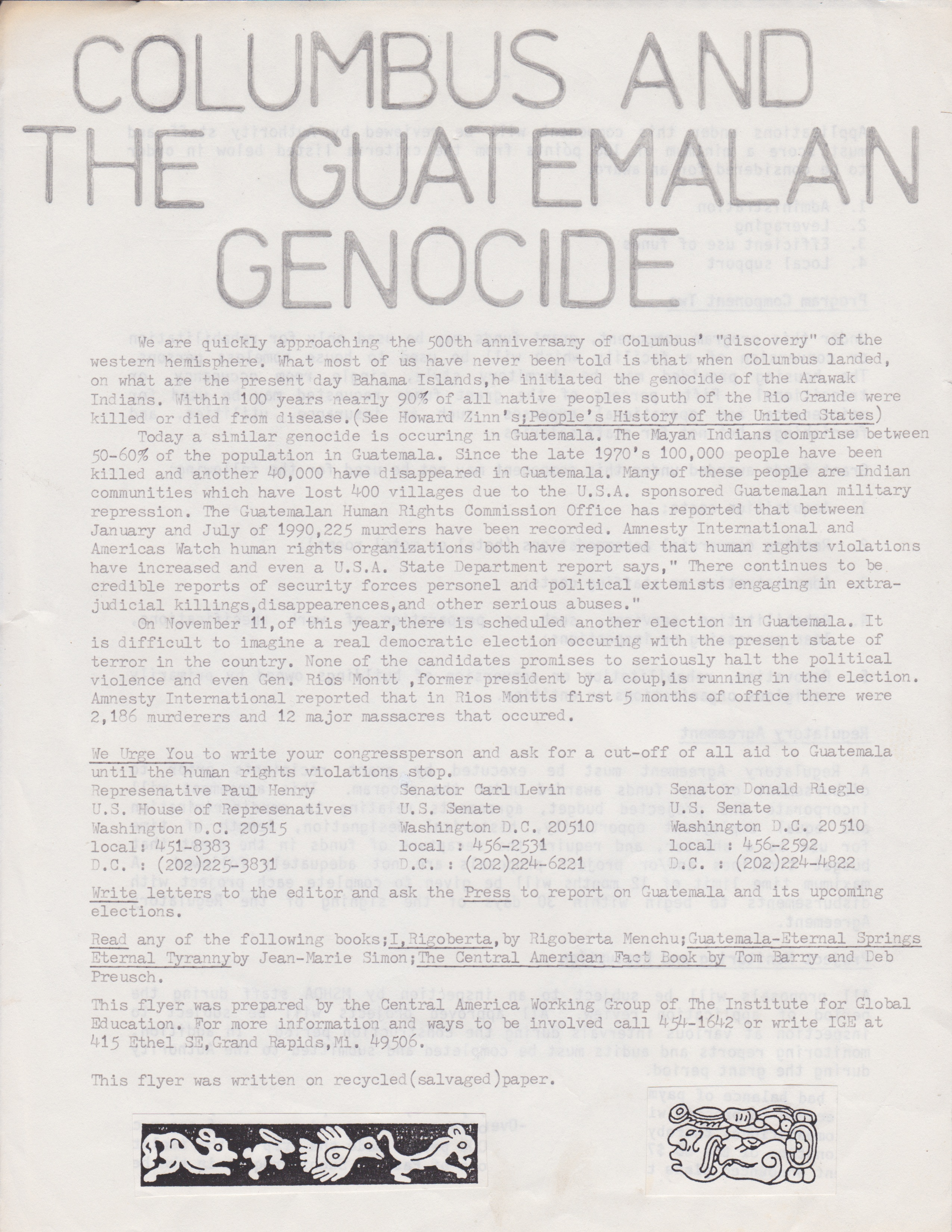 GR Central American Solidarity flyer connects Guatemalan Genocide to ...