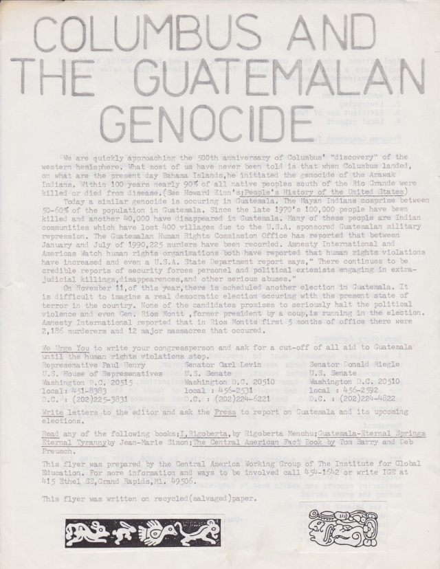Columbus and the Guatemalan Genocide